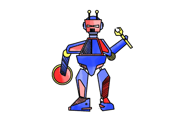 Roboter Schulranzen Motiv