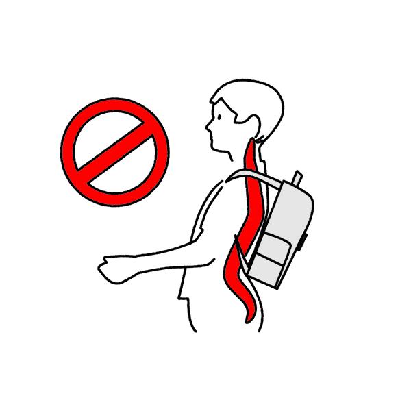 falsch gepackte Schultasche mit Zug nach hinten